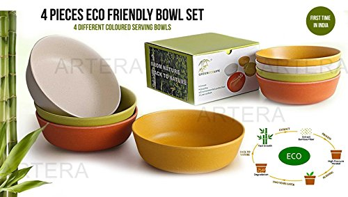 Eco friendly Unbreakable Bamboo Fibre Serving Bowl – Non Toxic & Kid Safe Dishes for Cereal & Soup – Set of 4 Bowls