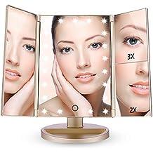Easehold Triple Plegable Espejo con Luz para Maquillaje 21 Lámpara LED 180 Grado de Rotación Coméstico con Mostrador, Perfecto Regalo para Mujeres (Oro)