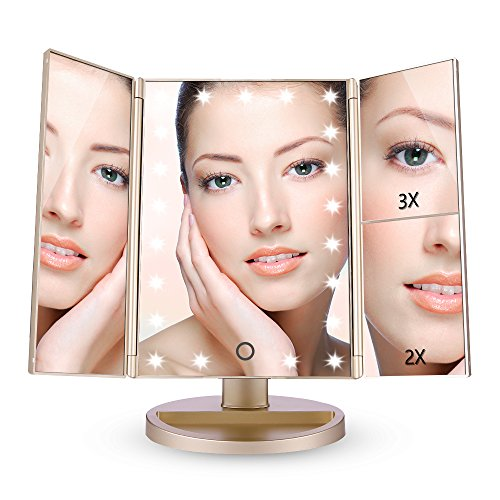 EASEHOLD Miroir Maquillage Lumineux LED Tri-Pli Grossissement 2x3x