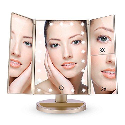 EASEHOLD Miroir Lumineux de Maquillage Miroir de Table Lumière Eclairage Tactile Tri-Pli Grossissement 2x3x avec 21 LEDs Rotation Réglable - Champagne d'or