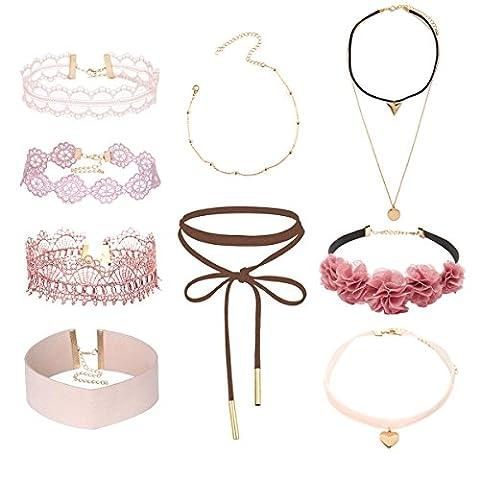 Tpocean 9pcs Rosa Choker Halskette Set Lolita Blumen spitze Tätowierung Samt Kragen Choker Gold Kette Halskette Schmuck für Frauen Damen (Glückliche Blumen-halskette)