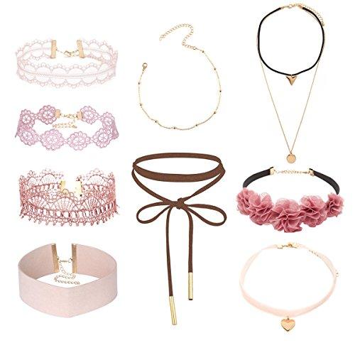 Tpocean 9pcs Rosa Choker Halskette Set Lolita Blumen spitze Tätowierung Samt Kragen Choker Gold Kette Halskette Schmuck für Frauen Damen 90s