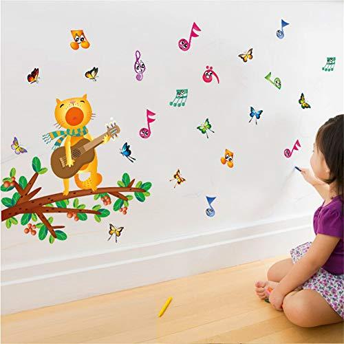 (Mddrr Diy Cat Singt Wandaufkleber Für Gitarre Bunte Musiknoten Schmetterling Home Kindergarten Pvc Wandtattoo Wohnzimmer Dekoration Kinderzimmer)
