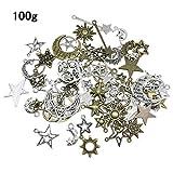 YXJD 100 Gramm Metall Anhänger Retro Pendant Mond Sonne Sterne mit zufälligen Formen für Halskette Schmuckherstellung DIY Deko Antikes Silbrig Bronze