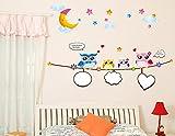 ufengke Cartoon Eulen und Vögel Wandsticker, Kinderzimmer Babyzimmer Entfernbare Wandtattoos Wandbilder