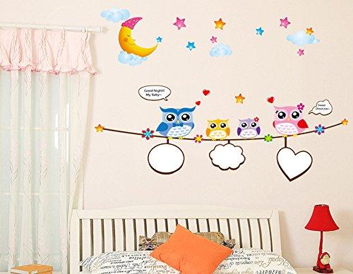Ufengke Buona Notte Gufi Carino Adesivi Murali Camera Dei Bambini Vivai Adesivi Da Parete Removibili Stickers Murali Decorazione Murale