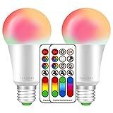 LED RGBW Lampe mit Fernbedienung | E27 farbwechsel led | 10W(ersetzt 60W) Dimmbar Speicherfunktion farbig+Kaltweiß Licht (6000 Kelvin) Birne Leuchtmittel | 120 Farben | 900LM | 85CRI Display | für ambiente Beleuchtung Party Deko(New 2 Pack E27 RGB+6000K)