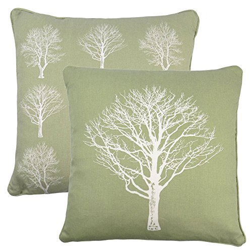 2 X FOREST TREES GREEN WHITE 100 COTTON PIPED CUSHION COVER 17