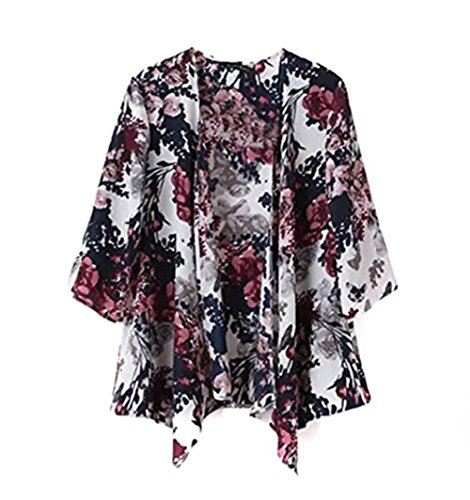 Frauen Blusen Bedruckte Oberteile 3/4 Arm Cape Jacken Ethnische Floral Printed Lose Kimono Cardigan (L)