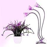 Amzdeal Pflanzenlampe Wachstumslampe Blumenlampe, Pflanzenbeleuchtung mit 360 Grad Drehung (15W Dreifacher Kopf)