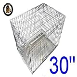 Ellie-Bo Dog Puppy Cage Folding 2 Door Crate with Non-Chew Metal Tray, Silver, Medium 30 Inch