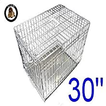 Ellie-Bo Käfig für Welpen/Hunde, Metallplatte mit Kauschutz, Größe M, 76,2 cm, silberfarben