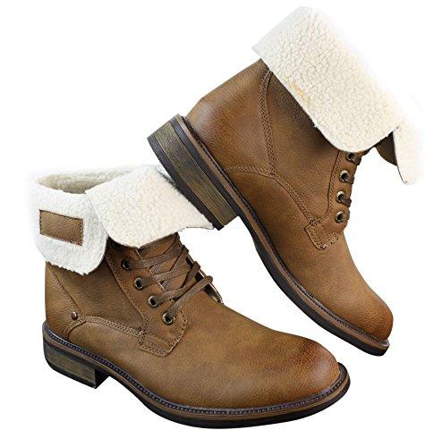 Bottines homme marron clair militaire armée cowboy nature marche cuir PU et doublure style mouton Marron