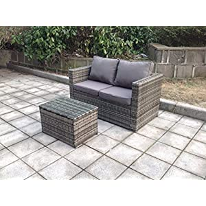 51WYfGD05fL. SS300  - UK Leisure World NEW TWIN RATTAN WICKER TABLE SOFA CONSERVATORY OUTDOOR GARDEN FURNITURE SET Grey