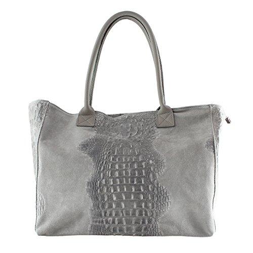 CTM Motif Sac à main femme Animalier avec cuir suédé pièces, en cuir véritable made in Italy - 53x30x16 Cm Gris