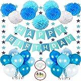 Hook Deko Geburtstag Junge, Geburtstagsdeko, Happy Birthday Girlande Dekoration mit 18pcs Ballon, 8er Pompoms, Wimpelkette Erster Geburtstag,Partyset Kindergeburtstag Luftballons Blau Hellblau Weiß