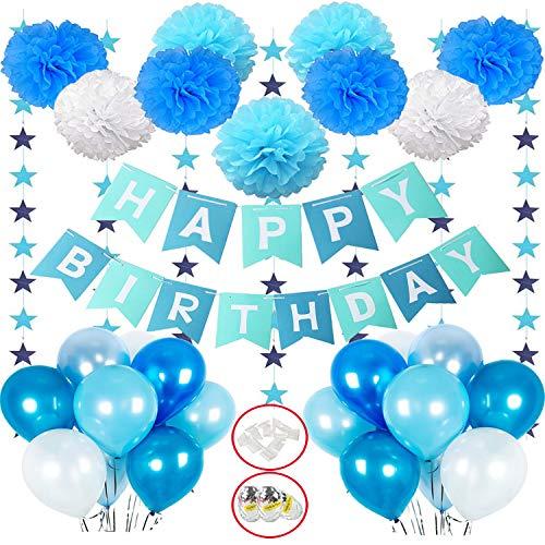 Hook Deko Geburtstag Junge, Geburtstagsdeko, Happy Birthday Girlande Dekoration mit 18pcs Ballon, 9er Pompoms, Wimpelkette Erster Geburtstag,Partyset Kindergeburtstag Luftballons Blau Hellblau Weiß