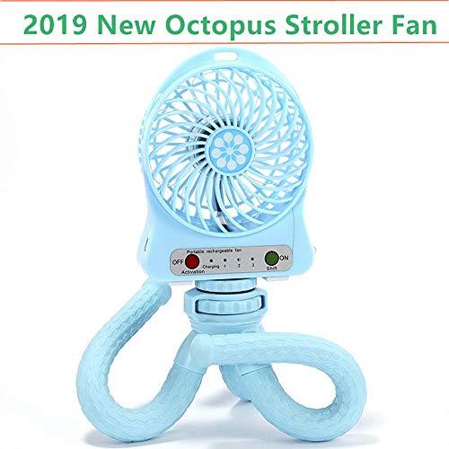 Kinderwagen Fan, persönliche tragbare Baby Fan mit flexiblem Stativ Fix auf Kinderwagen/Studentenbett/Fahrrad, USB oder batteriebetrieben,Blue ()