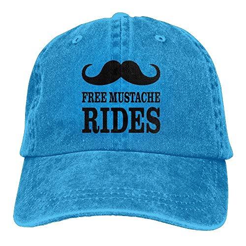 Ingpopol Men & Women Vintage Adjustable Denim Hat Leisure Hats - Free Mustache Rides Ride Beanie Boys