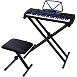 DynaSun MK4500 54 Keys Performance Teaching Type Keyboard with USB port Piano Bench and Stand Support X-Shape