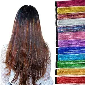 Haar Lametta Stränge Glitzernde Haarsträhnen Hair Tinsel