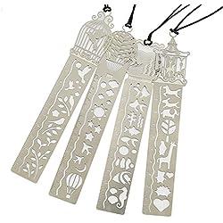 Vitasemcepli - Juego de 4marcapáginas de acero inoxidable resistentes y duraderos con regla y plantillas para el trazado de dibujos