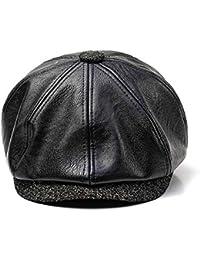 Zhangcaiyun Boina Vintage Sombrero de Cuero de Boina PU para Hombre y Mujer  Otoño Invierno Gorra d2b3f061887