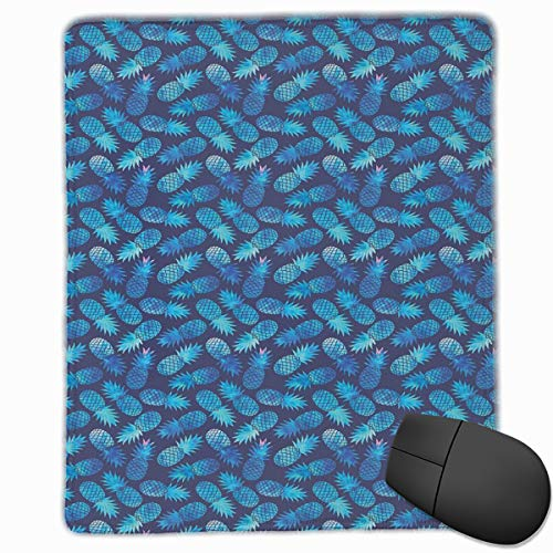 Preisvergleich Produktbild Mouse Mat Stitched Edges,  Tropical Hawaiian Pineapple In Blue Shades Hipster Exotic Summer Fantasy, Gaming Mouse Pad Non-Slip Rubber Base