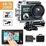 KAMTRON Action Cam 4K Wasserdicht Aktion kamera - 20MP Ultra Full HD Unterwasserkamera Helmkamera Wasserdicht mit 2.4G Fernbedienung 170°Weitwinkel 2 verbesserten Akkus und Transporttasche und kostenlose Accessoires
