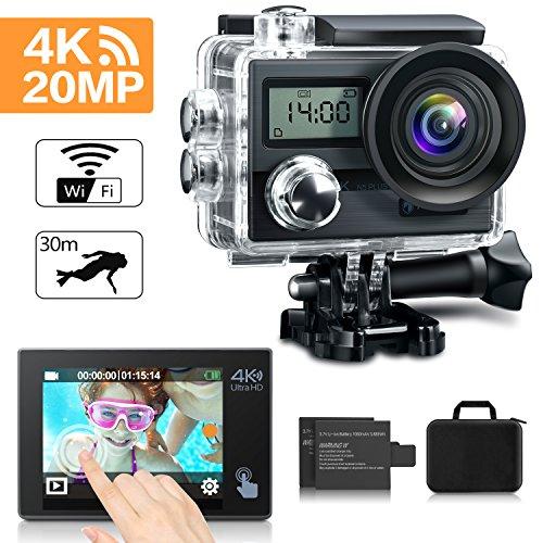 """KAMTRON Action Cam 4K Wasserdicht Aktion Kamera - 20MP Ultra Full HD WiFi Unterwasserkamera Helmkamera mit EIS, 170° Weitwinkelobjektiv Sony Sensor 2""""-LCD-Touchscreen 2 wiederaufladbare Batterien Reisetasche und Zubehör"""