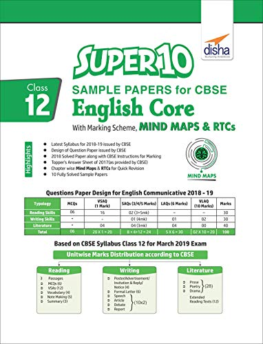 Super 10 Sample Papers for CBSE Class 12 English Core with Marking Scheme, MINDMAPS & RTCs