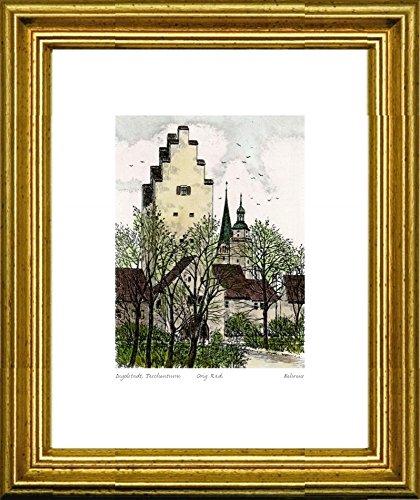 Handkolorierte original Radierung Ingolstadt, Taschenturm im Rahmen Gold, Graphik, kein Kunstdruck, kein Leinwandbild