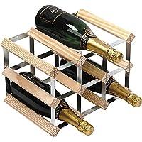 RTA - Porta bottiglie in acciaio galvanizzato e legno di pino naturale, da assemblare, per 9 bottiglie