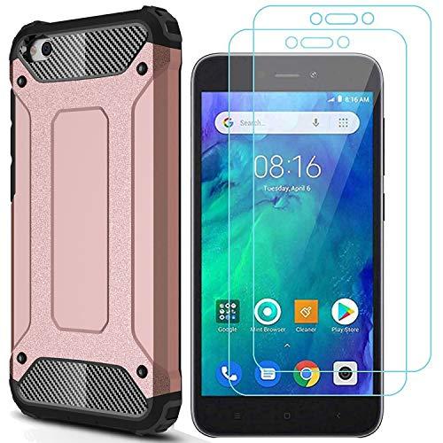 AOYIY Funda para teléfono móvil Xiaomi Redmi Go y 2 Protectores de Pantalla para la Caja del teléfono móvil y Protector de Pantalla para el teléfono Inteligente Xiaomi Redmi Go[Oro Rosa]