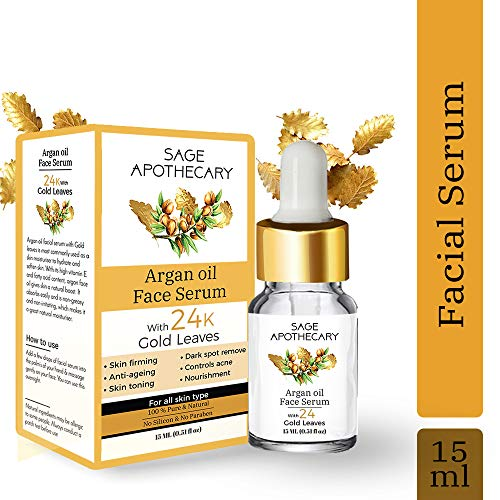 Sage Apothecary Argan Face Oil with Gold Leaves, Face Serum For Radiant Looking Skin