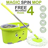 #3: Zoyo mop with Bucket/mop / Magic mop/Magic Spin mop and Bucket/Microfiber Cleaning mop/Microfiber mop Head/Magic mop Bucket/Magic Floor mop/Floor Cleaning mop (Color May Vary).