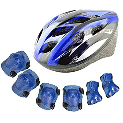 YAKOK Kids Helmet Set, 7pcs Kids Helmet Safety with Protective Gear Set for Bike Scooter Skateboard Skate for Child Boys and Girls, 3-12 Years Old by YAKOK