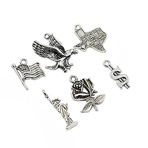 PandaHall 5 Sets Antique Silver Alloy Pendants, The Statue of Liberty, United States Flag, Eagle, Rose Flower, American Map with TEXAS and Dollar Charms