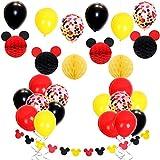 Mickey Mouse Decoraciones de fiesta con globos de confeti Rojo Amarillo Negro, Mickey Ears Garland, Bolas de nido de abeja de papel para Baby Shower, Decoraciones de cumpleaños