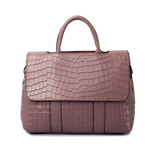 Frauen Flip Taschen Mode Krokodil Handtaschen Echtes Leder Handtaschen Schulter Diagonal Taschen Erste Schicht Rindsleder Big Bags,Purple-32*14*24cm