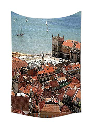 yscape Collection View of Central Lisbon Portugal with Rooftops and Sea Old Town Nostalgic City Deco Bedroom Living Room Dorm Multi Unique Home Decor ()