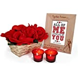 TiedRibbons® Wooden Engraved Photo Frame With Artificial Roses , Bamboo Bucket And Tealight Candle Holder | Wedding Anniversary Gifts For Couple | Marriage Anniversary Gifts For Wife | Wedding Anniversary Gifts For Couple | Marriage Anniversary Gifts