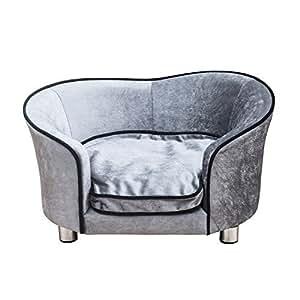 Canapé/Lit pour chien/chat canapé animaux avec accoudoir et dossier 69x49x38cm gris clair neuf16