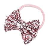 bobo4818 Baby Pailletten Bowknot Elastische Infant Kinder Mädchen Haarband Fotografie Requisiten (Pink)