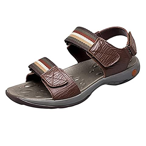 Spades & Clubs Men's Summer Leather Outdoor Casual Velcro Athletic Beach Sandals Water Shoes Size 5.5 UK Brown