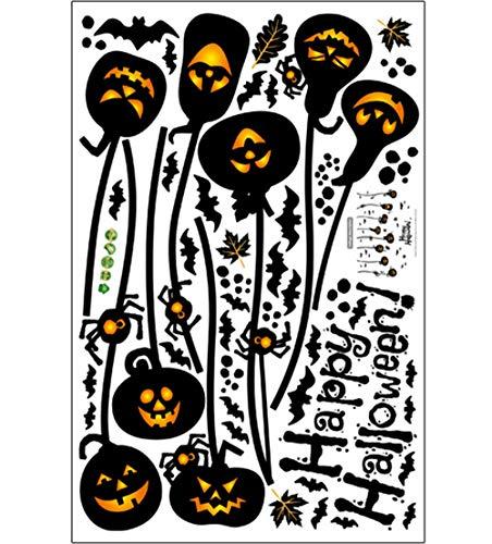 e Wand Aufkleber Kürbis Hexe Fledermaus Dekorative Wand Aufkleber Fenster Bar Cafe Halloween Tapete (Alle 3 Kombinationen),7 ()