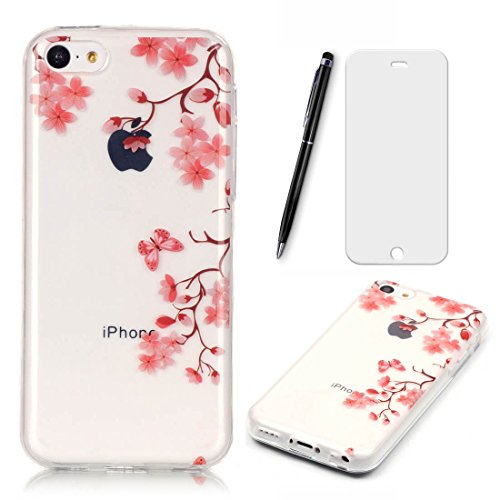 Lotuslnn iPhone 5C Coque,iPhone 5C TPU Silikon Etui Transparent Housse Cases and Covers (Coque+ Stylus Pen + Tempered Glass Protective Film)- fleurs de cerisier