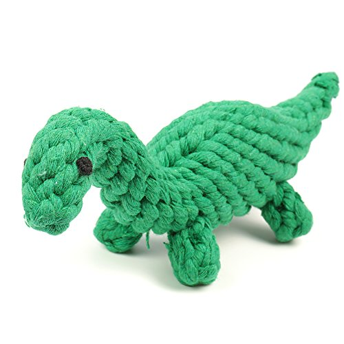 Image of Dog Toys oneisall Pet Cotton Chew Rope Toy Dental Teaser Teeth Cleanning for Small Dog Puppy Biting Green Dinosaur