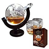 mikamax - Globe Dekanter Set - Whiskeykaraffe - mit Zwei Gläsern - Handgefertigt - Transparent - 850 ML - Karaffe mit luftdichtem Verschluss