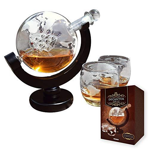 mikamax - Globe Dekanter Set - Whiskeykaraffe - mit Zwei Gläsern - Handgefertigt - Transparent - 850 ML - Karaffe mit luftdichtem Verschluss - Edelstahl Trichter